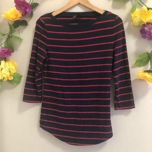 4/$20☀️ Cynthia Rowley Navy Blue Red Striped Top